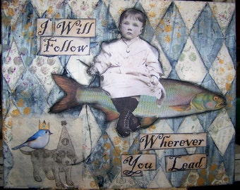 Art Print of Original Mixed Media Painting Collage Vintage Whimsical Child and Friends