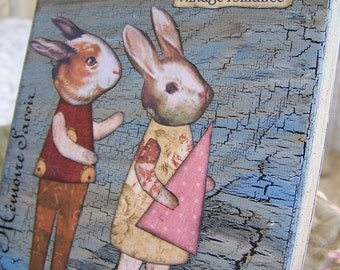Altered Art Altered Rabbit Art French Collage Original Vintage Rabbit Collage Mixed Media Collage  5 x 5 with wire easel OOAK