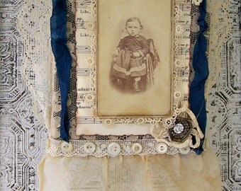 Handmade Mixed Media Collage Antique Cabinet Card  Original  Vintage Collage Fabric Collage Vintage Assemblage Wall Hanging