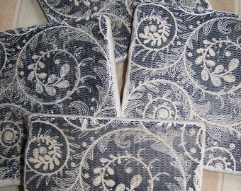 Natural Stone Coasters Vintage Lace Pattern Set of 4 Tile Coasters Lace Coasters Black and White Coasters
