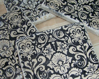 Tile Coasters Black Damask Natural Stone Coasters Vintage Damask  Black and White Coasters