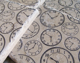 Natural Stone Coasters Clock Coasters Print Set of 4 Tile Coasters Vintage Clock Coasters Man Cave Coasters Masculine