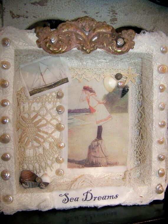 Original Nautical Collage OOAK Mixed Media Vintage Shabby White Vintage Nautical Decor Display Shadowbox