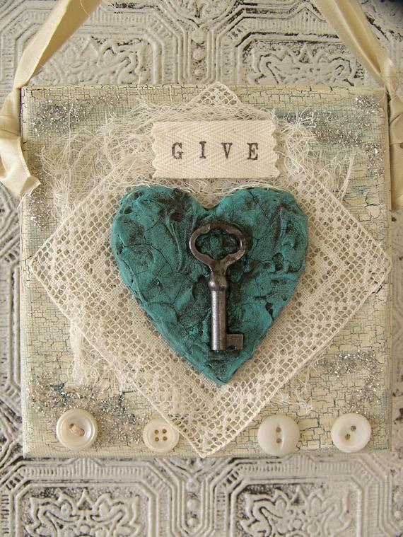 Original Mixed Media Art Vintage Heart Collage Shabby White Cottage Style Original Vintage Lace Collage