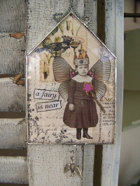 Original Vintage Collage Vintage Mixed Media Glass House Wall Art Vintage Fairy Collage Soldered Glass