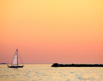 Sailing Romantic Sunset Fine Art Color Photography Print, Dreamy Nautical Love Free Shipping Signed Photograph
