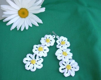 Crochet Graduated flowers earrings PDF Pattern No 9