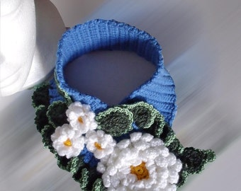 PDF Pattern Crochet  flowery neck warmer  No 4 scarflette scarfush