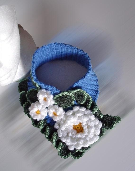 PDF Pattern Crochet  flowery neck warmer  No 4 scarflette scarfush