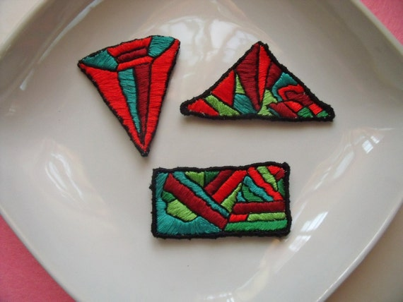 hand embroidered free form patches appliques