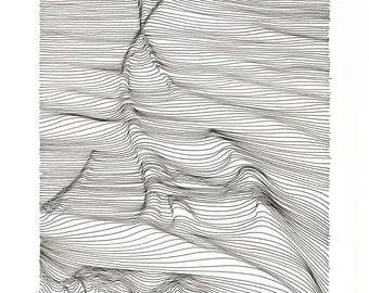 Out There - Line Scaping by Artist Momoko Sudo 11x8.5 inches - free shipping in the USA