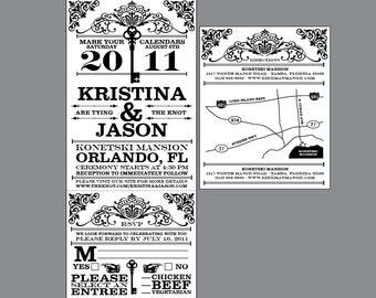 Rustic Wedding Invitations - Vintage Victorian Edwardian Antique Cottage Chic Rustic Wedding Key Ticket Invitations