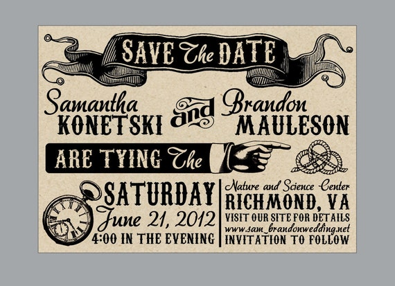 Wedding Save the Dates - Vintage Antique Victorian Edwardian Rustic Banner Ticket Wedding Save the Date