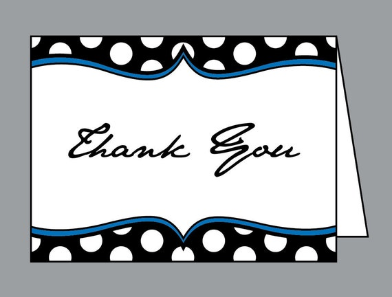 Thank You Cards - Vintage Antique Retro Layered Polka Dot Wedding Folded Thank You Cards Thank You Notes