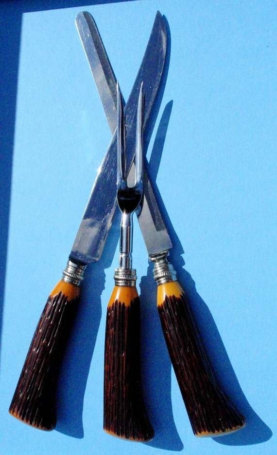 Vintage Bakelite Staghorn Cutlery Carving Set  Sheffield Carving Knife Set 60's Unused Washington Forge Stainless