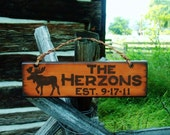 Rustic Moose Cabin Sign Family Name or Business Personalized