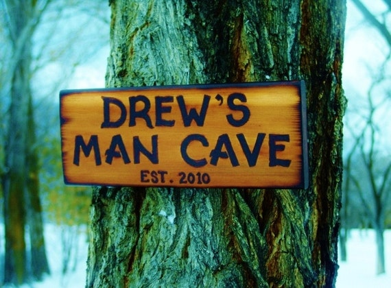 Personalized Man Cave Signs Etsy : Items similar to man cave sign custom wood burned rustic