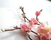 cherry blossom hair accessories - SAKURA - pink flower hair clip, bridal, wedding, flower girl