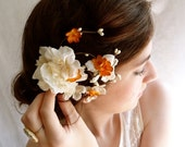 fall hair flower clip - SPICE BLOSSOM - rustic ivory flower hair accessory