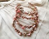 pink bridal headpiece flower circlet, flower girl - JOLIE - bridal hair accessories, wedding hair accessory, hair piece, vine garland