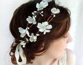 white flower head piece, hair wreath, bridal hair accessory - MISS DARCY - cherry blossom wedding headpiece