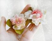 small pink flower hair clips - BON BONS - 2 rose bobby pins