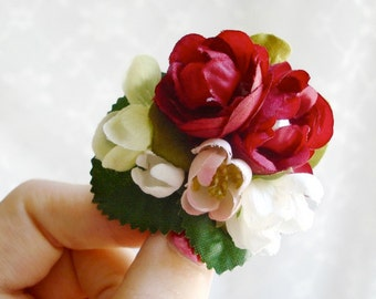 autumn hair clip - ROSIE - a red rose and leaf accessory