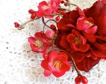 red floral hair clip, red flower, wedding headpiece, bridal hair piece, red hair accessories, bridesmaid hair clip, cherry blossom hair