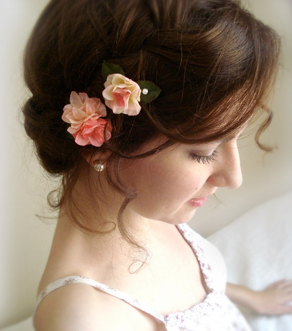 rose flower hair pins - MINUET - 2 pink flower garden bobby pins