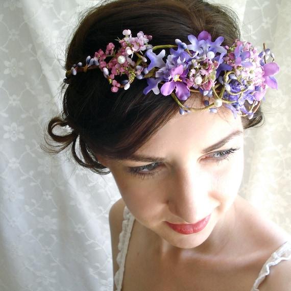 Flower Crown Purple: Head Wreath CASTLE WISTERIA Purple Bridal Flower Crown