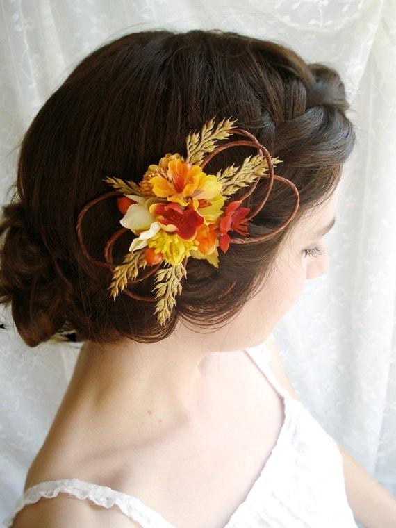 autumn wedding hair clip BARN DANCE a flower by thehoneycomb