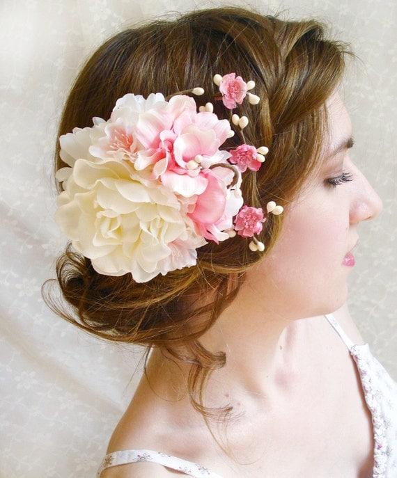 gardenia hair flower  - DARLING GIRL - cherry blossom, white bridal flower accessory