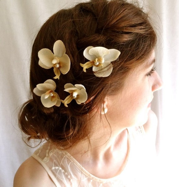 ivory orchid flower hair clips - PETITE AMOUR - champagne, off white, wedding bobby pins