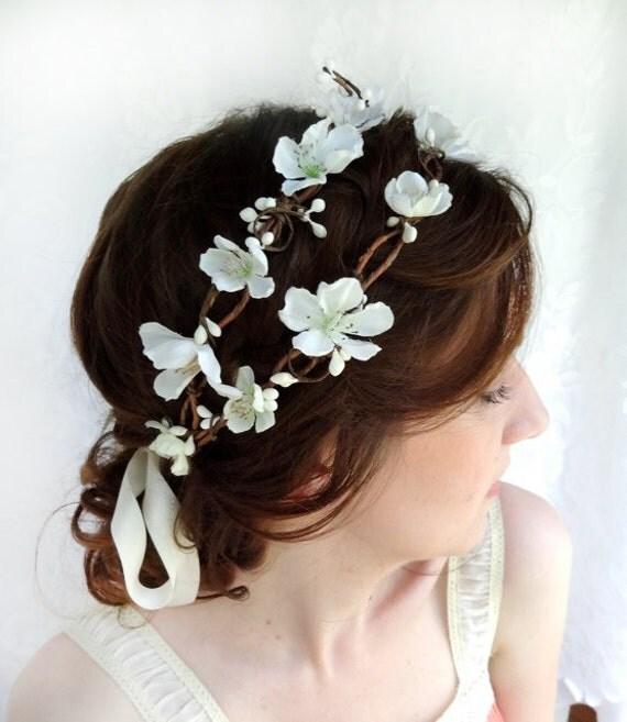 Bridal Flower Wreath For Hair : White flower head piece hair wreath bridal by