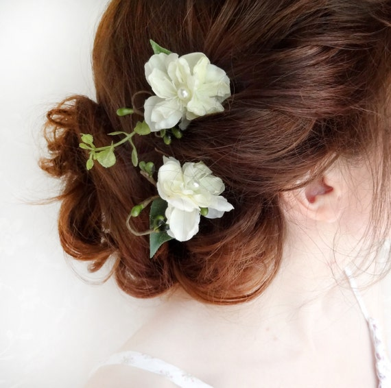two ivory flower hair pins - WILDFLOWER - ferns and foliage, flower girl, bridal hair