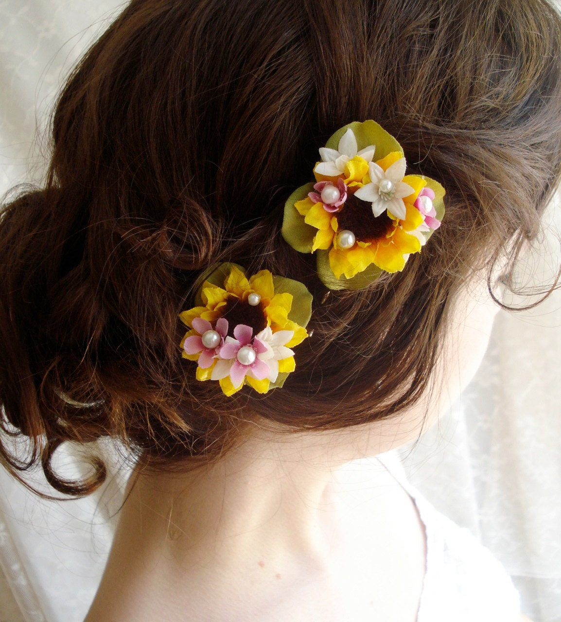 Sunflower Wedding Hair Clips SWEET DISPOSITION Yellow