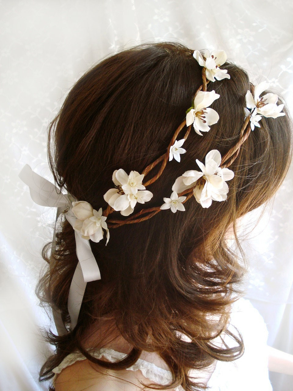 Bridal Flower Wreath For Hair : Rustic chic wedding head wreath bo peep ivory flower hair
