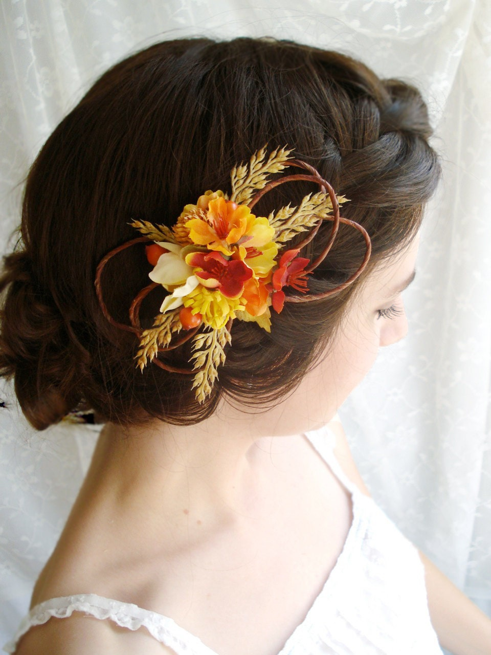 hair styles for brides autumn wedding hair clip barn a flower by thehoneycomb 2379 | il fullxfull.264786746