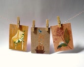 3 ACEOs Print - Set Forest - buy 2 get 3 autumn fall nature craft neutral brown harvest animal plant trunk chair