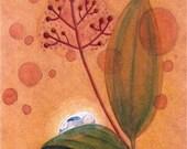 Print art of original acrylic painting - Cinammon Dream children bedding print autumn fall rabbit animal plant nature brown