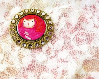 SHIPS AUGUST 3th - Cat lover Brooch Pink Jewelry - Print Illustration cat lover magenta raspberry pink rose girl