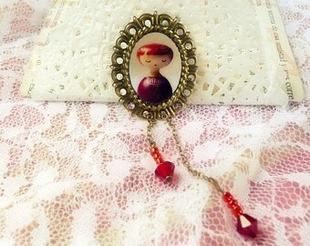 Girly Red sweet Metal Brooch Jewelry - Victorian Art dolls romantic pink rose girl cameo red garnet carmine wine