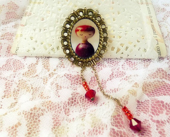 Girly Red sweet Metal Brooch Jewelry - Victorian Art dolls romantic pink rose girl cameo red garnet carmine wine