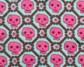 SKULL and Bones PRETTY Bright Punk Rock Pink TeAL PiNK FLANNEL Fabric 1 Yard