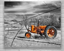 Tractor Picture, Old Tractor Photograph, Farm Art, Rural Rustic Farm Photo, Red Tractor, Farm Photograph, Nogales, 8 x 10, 11 x 14, 16 x 20