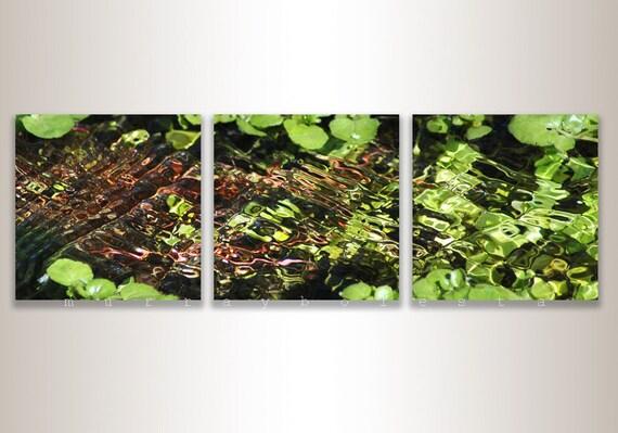Triptych Art, Water Art, Green Art, Nature Photography, Water Ripples, 8 x 8, 10 x 10, 12 x 12, Murray Bolesta, Empire Ranch, Photo Art