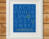 Customized I Heart U ABC Poster - Printable Nursery Art