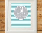 Nursery Art Birth Announcement - Printable Art - Modern Stripes