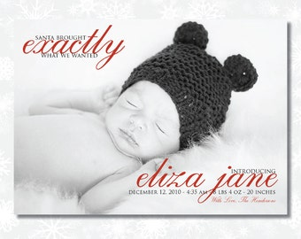 Christmas Birth Announcement  - Santa Brought... -  Custom Photo Holiday Birth Announcement