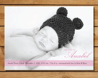 Custom Photo Birth Announcement - Say Hello To...